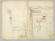 Palazzo Massimo alle Colonne, portico, elevation; portal, cornice, section; portal bracket, detail; fireplace, detail (recto) blank (verso)