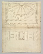 Unidentified, ceiling plan (recto) Pont du Gard, perspective elevation (verso)