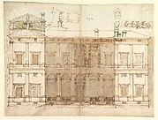 Villa Farnesina, north façade, with ornamental detailing (recto)  Villa Farnesina, plan and moulding profiles (verso)