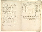 San Lorenzo, model, right half façade (left hand of folio); San Lorenzo, Library, Ricetto, consoles, elevation (right hand) (recto) blank (verso)