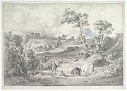 Southern landscape with a man and a snake