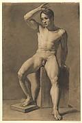 Seated Male Nude; verso, Male Nude Walking