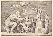 A Faun or Satyr Preparing a Pig for Sacrifice