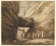Travelers at the Rock Arch in the Limestone Mountains of the River Elbe