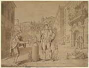 Nobleman Giving Alms to Beggar in Piazza near the Coliseum