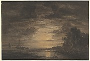 The River Elbe Downstream of Hamburg by Moonlight