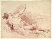 Reclining Male Nude, as Wind God on Clouds