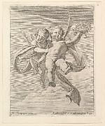 Groupe de deux angelots (l'un regardant de face et l'autre vers la gauche)