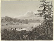View of Bad Schandau at the River Elbe with the Winterberg