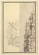 Half Plan and Half Elevation for a Catafalque for Margarita Louisa, Gran Duchess of Tuscany (d. 1721)