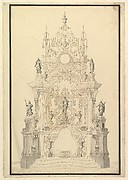 Elevation of a Catafalque with a royal Crown surmounting the Casket