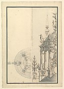 Half Elevation and Half Ground Plan for a Catafalque: Columns Supporting a Stepped Dome with 2 Obelisks Surmounted by Figure of Fame