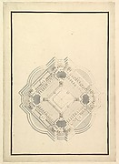 Ground Plan for a Catafalque for Louis I, King of Spain (reigned only a few months, died 1724)