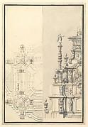 Half Elevation and Half Plan for a Catafalque for Maximilian, Elector of Bavaria, probably Maximilian II Emanuel (1662-1726)