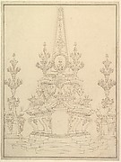 Elevation of a Catafalque: Two Pedestals with Candelabra at Sides; with Central Obelisk Surrounded by Candelabra. Verso: Sketch of architecture: archway and corner with pillars.