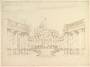 "Design for Stage Set: Centralized Villa with Cupola (""Villa rotunda"" Style) and Colonnaded Wings."