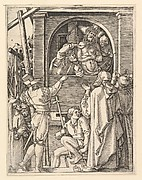 Ecce Homo: Christ wearing the crown of thorns standing in a loggia presented to a crowd, after Dürer