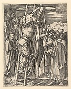 The Descent from the Cross; Christ being taken from the cross, St John supports weight with cloth rope, after Dürer