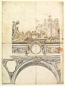 Two Alternate Designs for a Balustrade with Architectural Perspective.