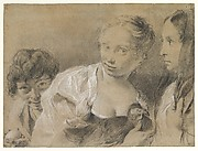 Boy with an Egg, Girl with a Hen, and a Watching Woman
