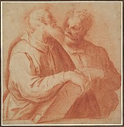 Two Male Figures in Half-Length Conversing.