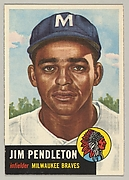 Card Number 185, Jim Pendleton, Infielder, Milwaukee Braves, from the series Topps Dugout Quiz (R414-7), issued by Topps Chewing Gum Company
