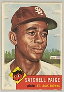 "Card Number 220, Leroy Robert ""Satchel"" Paige, Pitcher, St. Louis Browns, from the seriesTopps Dugout Quiz (R414-7), issued by Topps Chewing Gum Company"