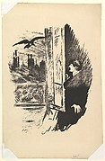 Open Here I Flung the Shutter. Illustration to The Raven by Edgar Allan Poe