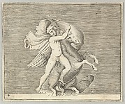 Man Grappling with Winged Horse