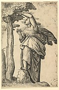 Woman in Roman Costume Picking Fruit from a Tree
