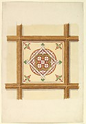 Design for a Coffered and Painted Ceiling in Rust and Olive Green, with a Quatrefoil Motif