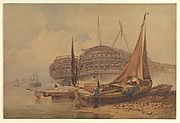 Coastal Scene with Beached Boats in Foreground