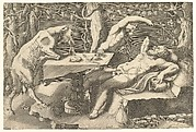 Silenus sleeping at right, taunted by a Satyr, and a Goat climbing on a table at left