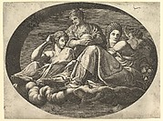 Ceres Seated on Clouds with Two Goddesses and Two Putti, from a series of eight compositions after Francesco Primaticcio's designs for the ceiling of the Ulysses Gallery (destroyed 1738-39) at Fontainebleau