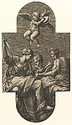 Three Muses and a Putto with Cymbals,  from a series of eight compositions after Francesco Primaticcio's designs for the ceiling of the Ulysses Gallery (destroyed 1738-39) at Fontainebleau