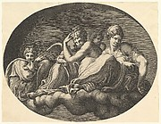 Venus and Cupid, two other goddesses and a putto, from a series of eight compositions after Francesco Primaticcio's designs for the ceiling of the Ulysses Gallery (destroyed 1738-39) at Fontainebleau