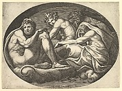 Hercules, Bacchus, Pan, and Saturn, from a series of eight compositions after Francesco Primaticcio's designs for the ceiling of the Ulysses Gallery (destroyed 1738-39) at Fontainebleau