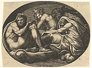 Hercules, Bacchus, Pan, and Saturn(?), from a series of eight compositions after Francesco Primaticcio's designs for the ceiling of the Ulysses Gallery (destroyed 1738-39) at Fontainebleau