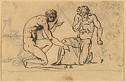 Two Nude Men Playing with Dice