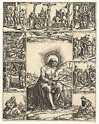The Man of Sorrows; an image of Christ surrounded by nine vignettes depicting scenes of the Passion