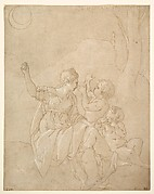 Classical Female Figure (Diana or Venus) with Two Infants.