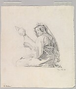 A Seated Woman in Roman Dress, Spinning