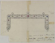 Design for a Silver Clasp for a Purse Adorned with Semi-precious Stones