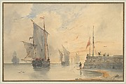 Fishing Luggers (Chasse-marée) making sail, off Calais