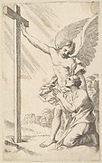 An Angel Indicates a Cross to a Man Kneeling