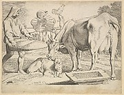 Country Scene with a Peasant, Cow and Calf