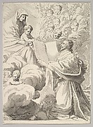 Cardinal Richelieu, Kneeling, Presents His Book to the Virgin and Child