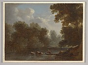A Wooded River Landscape with a Fisherman in a Boat