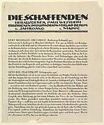 Text sheet from Die Shaffenden