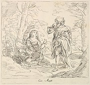 Seated woman and Bearded Man in a Landscape